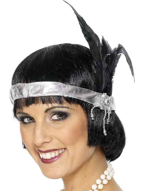 Zilveren Charleston Haarband met Veren