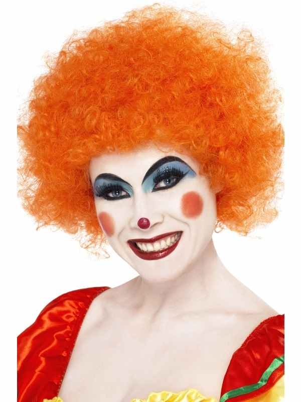 Crazy Clown Oranje Pruik