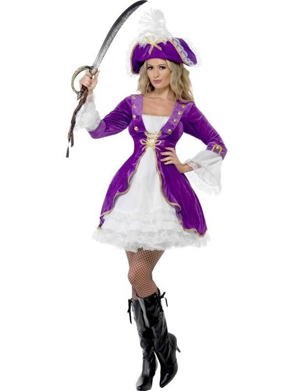 Beauty Paars Dames Piraten Kostuum