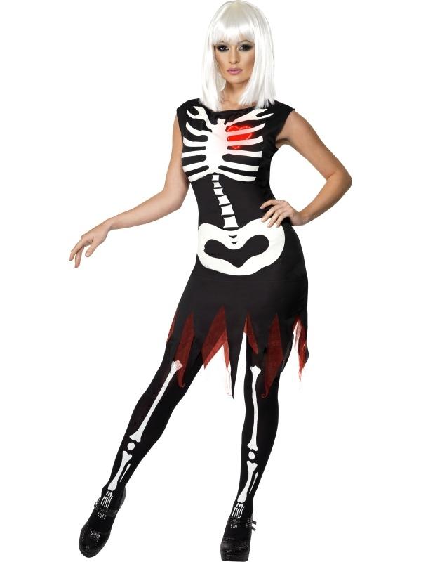 Skeletten Zwarte Jurk met Rood Hartje met Lichtje