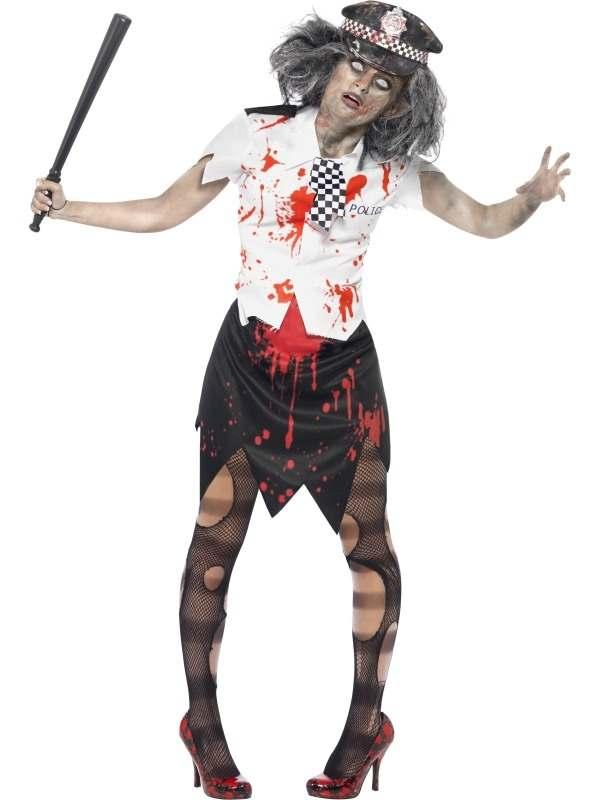 Zombie Politieagente Halloween Kostuum