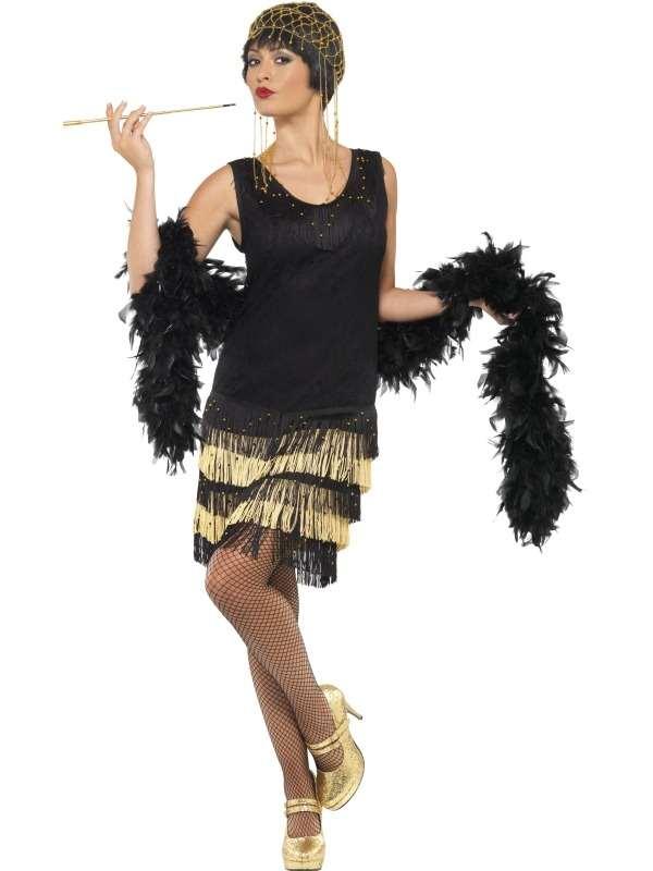 1920's Mooi Versierde Flapper Kostuum