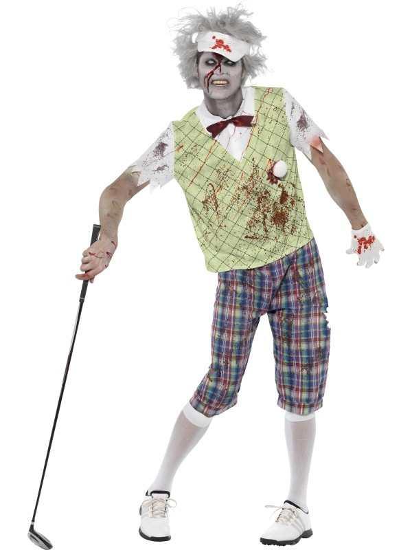 Zombie Golfer Heren Horror Halloween Kostuum