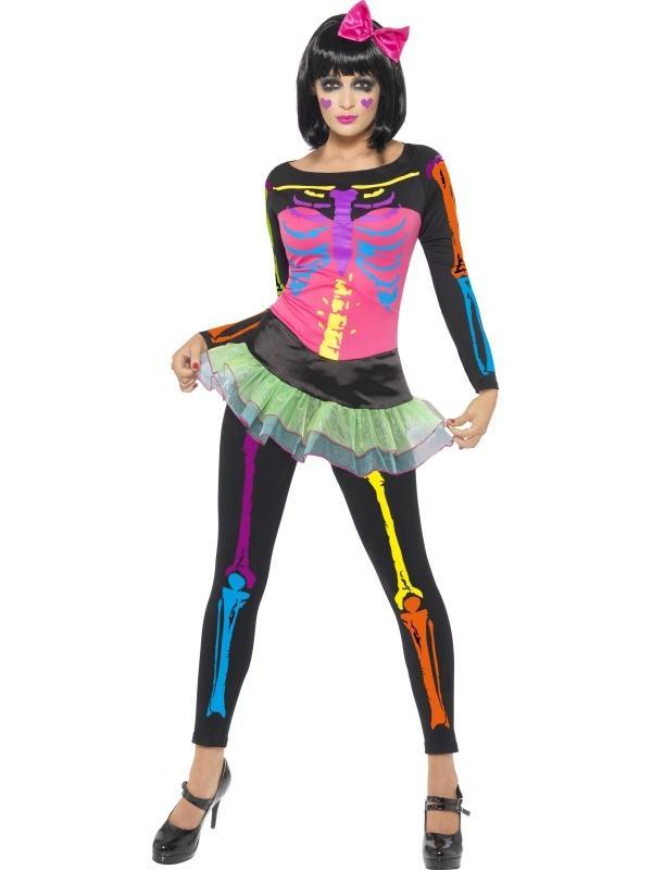 Neon Skeletten Dames Halloween Kostuum
