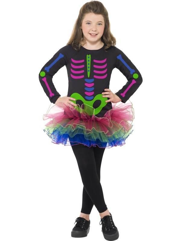 Neon Skeleton Meisjes Halloween Verkleedkostuum
