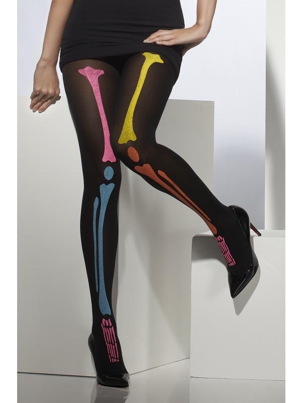 Zwarte Panty met Neon Skelet Print