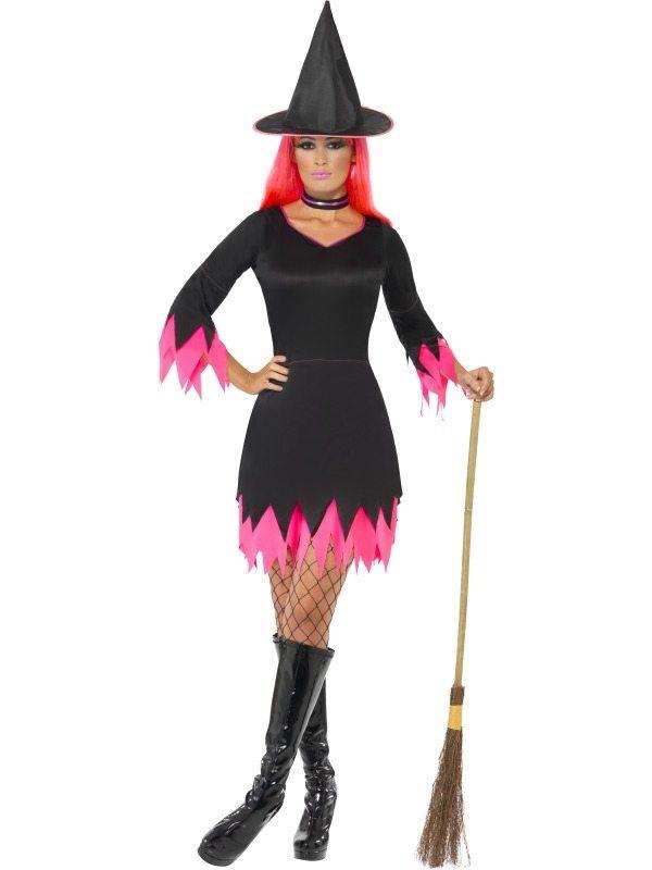 Zwart Roze Heksen Halloween Kostuum