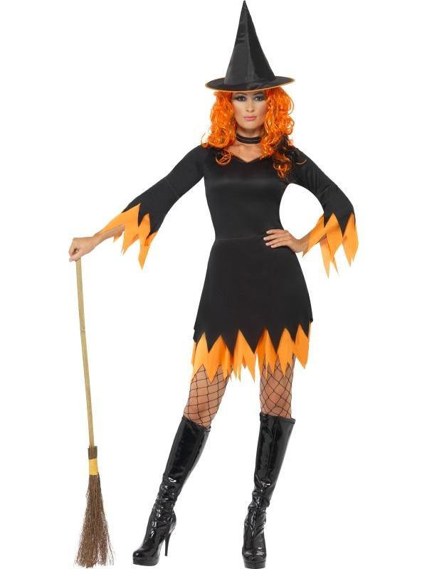 Zwart Oranje Heksen Halloween Kostuum
