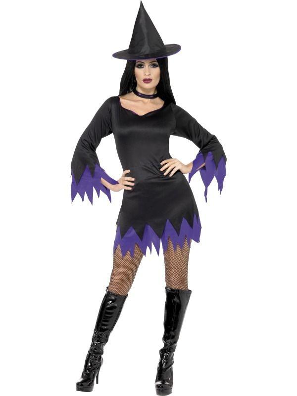 Halloween Zwart Paars Heksen Verkleedkostuum 3-delig