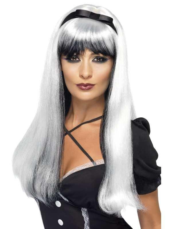 Bewitching Zilver Zwarte Heksen Pruik Halloween