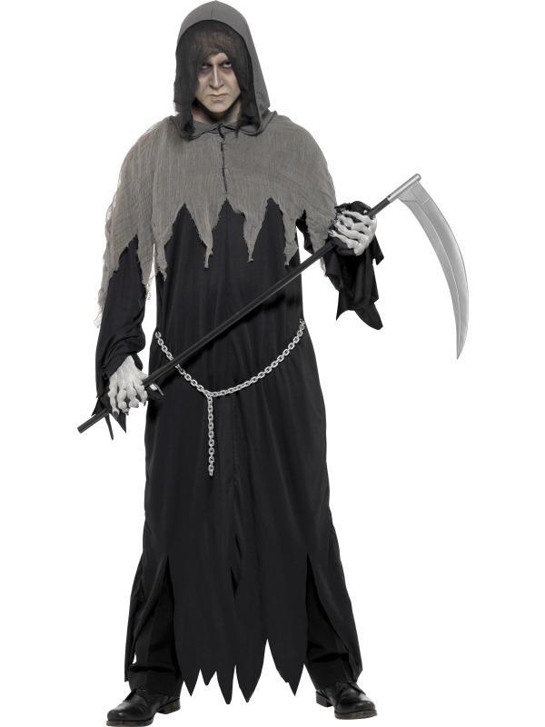 Magere Hein Heren Halloween Kostuum Met Ketting