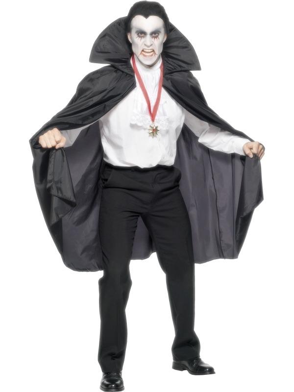 Zwarte Halloween Heren Cape met Kraag