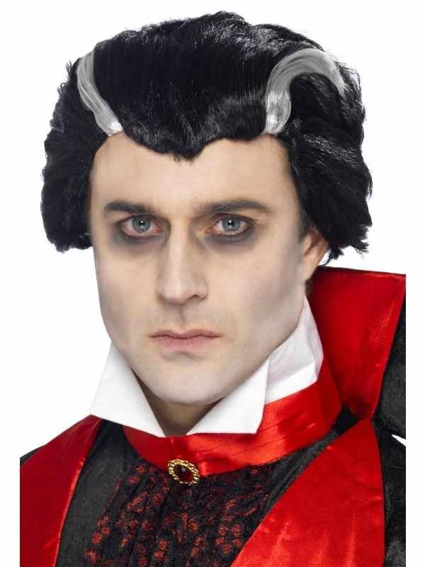Vampieren Heren Pruik met Witte Strepen