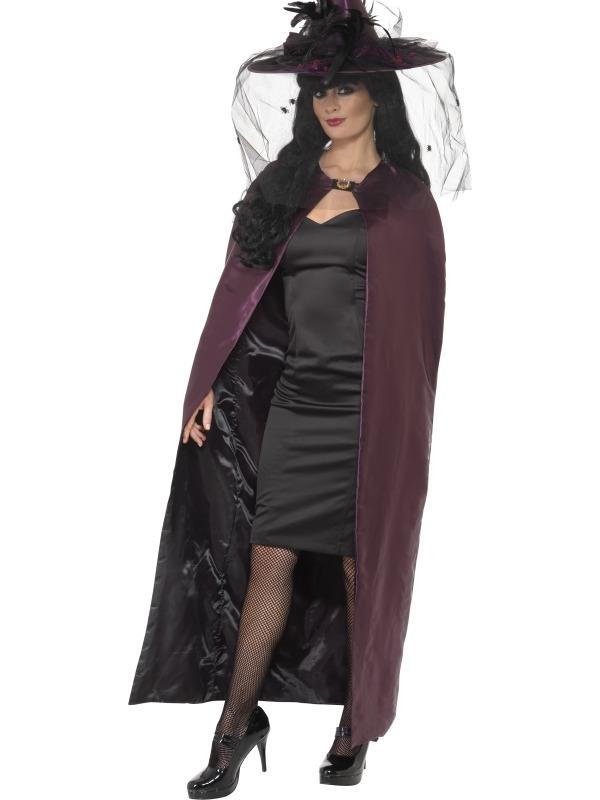 Zwart Paarse Heksen Cape Halloween Verkleedkleding