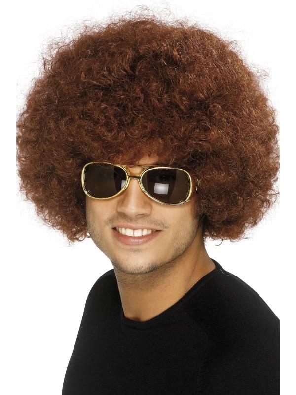 70's Funky Afro Pruik Bruin