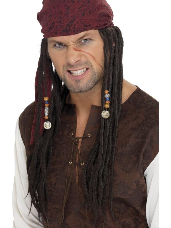 Piraten Pruik met Bruine Bandana