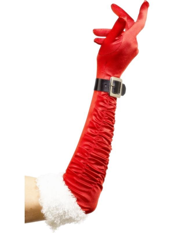 Rode Lange Kersthandschoenen met Riem en Bont
