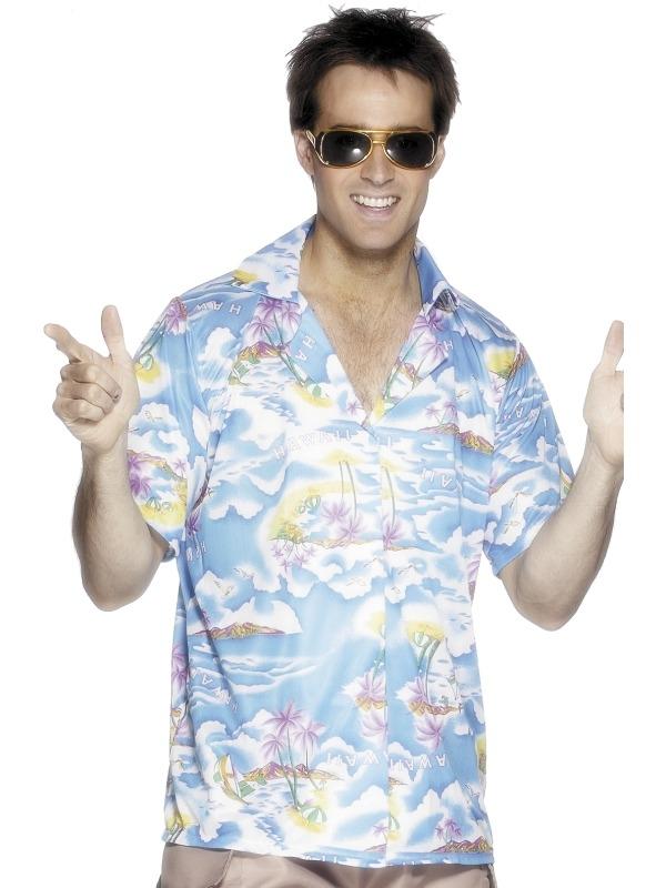 Lichtblauw Hawaii Heren Shirt.