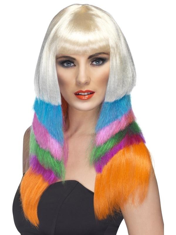Blonde met Neon Kleuren Lange Pruik 80's