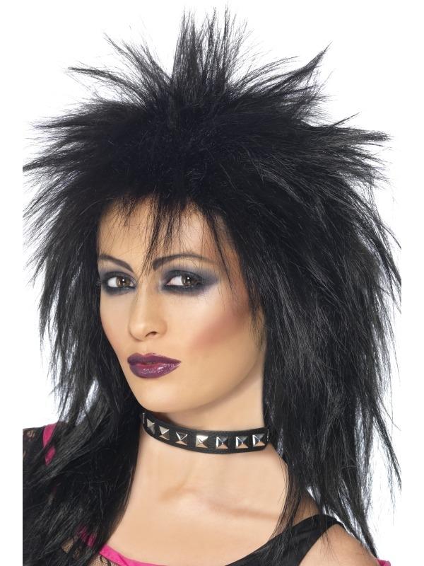 Zwarte Rock Diva Pruik