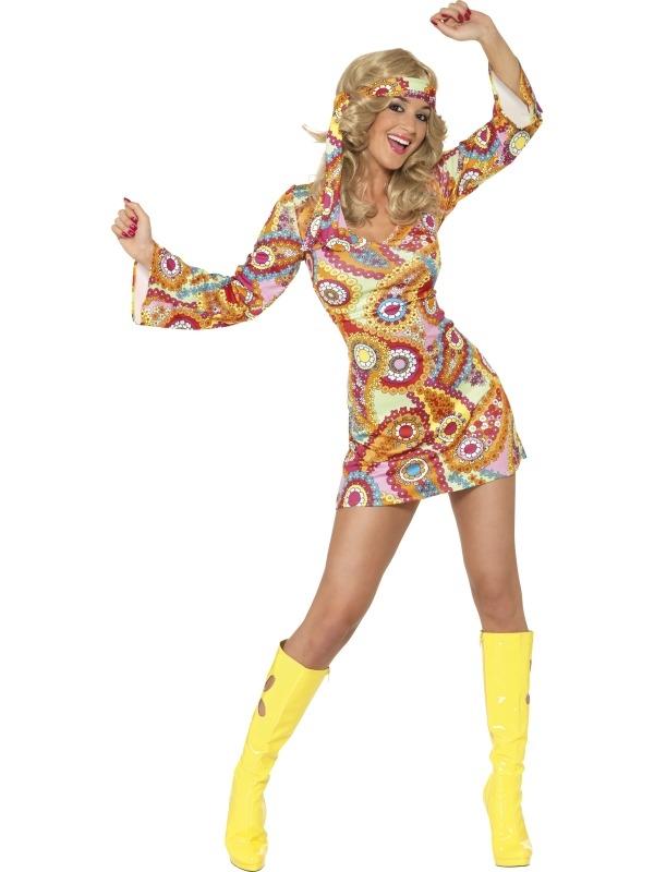 Gekleurd 1960's Hippie Dames Kostuum