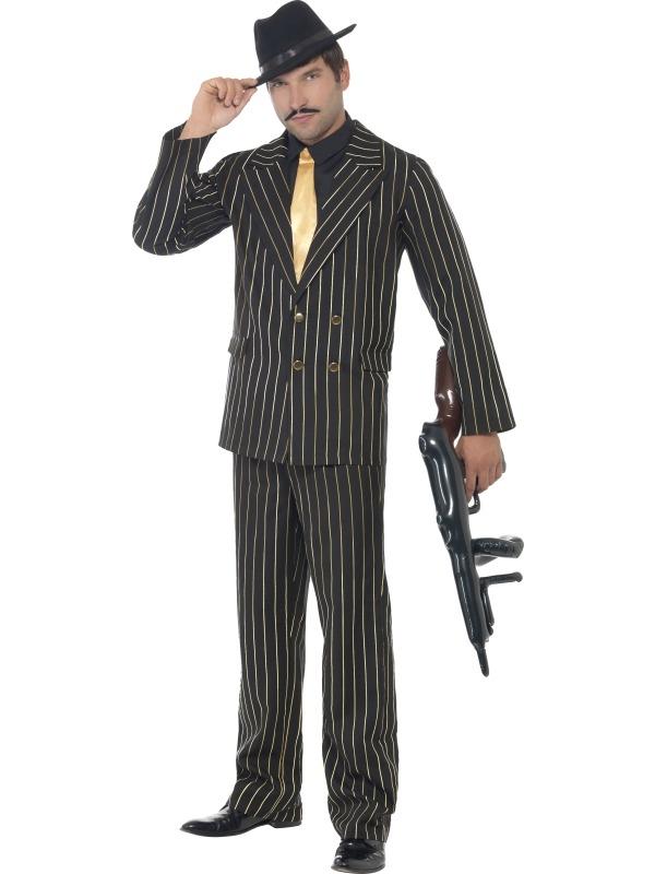 Gouden Krijtstreep Gangster Heren Kostuum