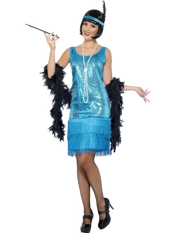 Blauw Funtime Flapper 1920's Kostuum