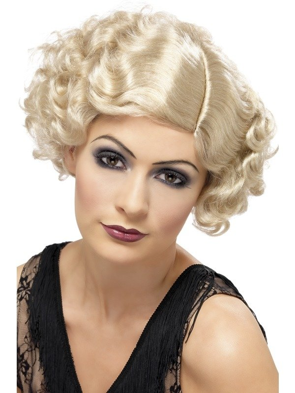 1920's Blonde Flirty Flapper Pruik