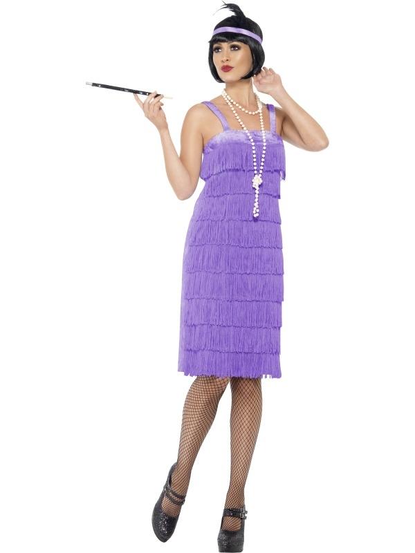 Lila Jazz Flapper 1920's Dames Kostuum