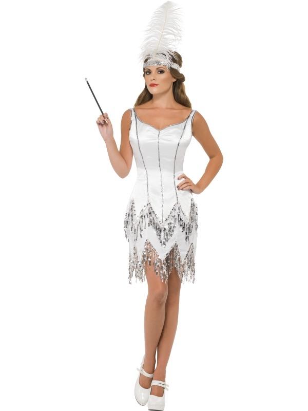 Fever Flapper Dazzle Wit Dames Kostuum