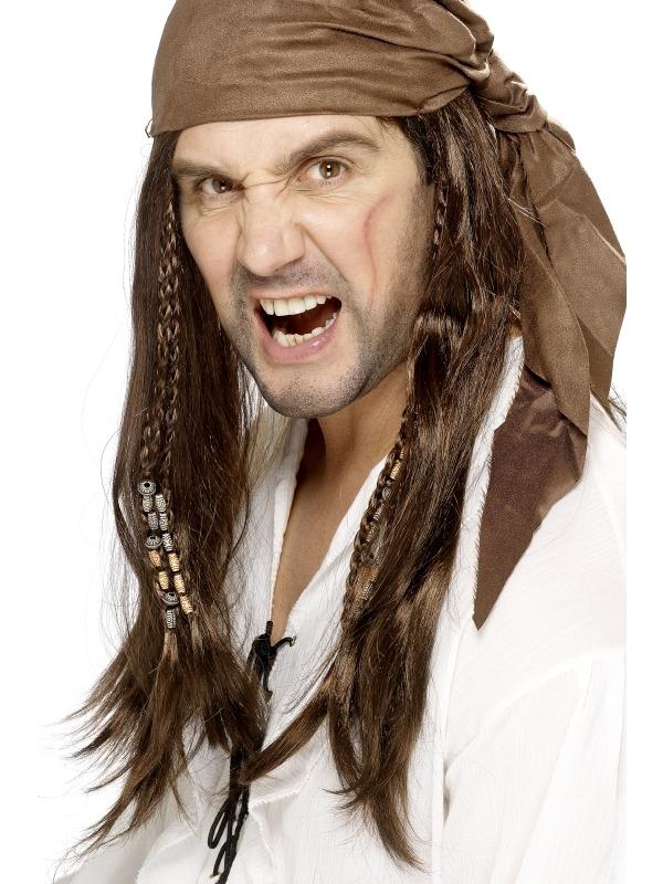 Buccaneer Piraten Pruik met Bandana
