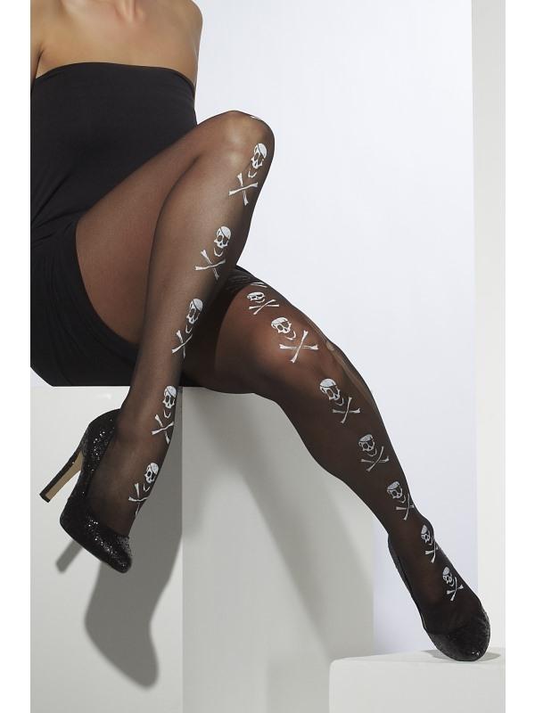 Zwarte Sheer Panty met Skelet Print