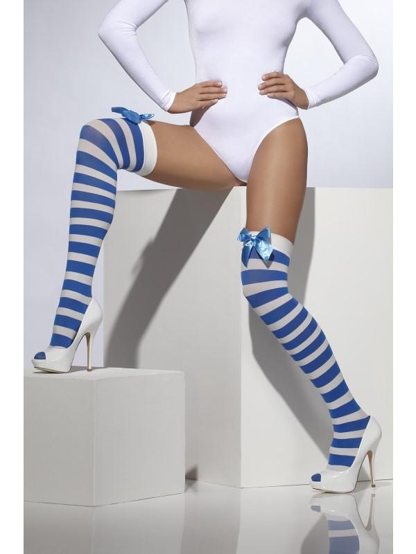 Blauw Wit Gestreepte Kousen met Strik