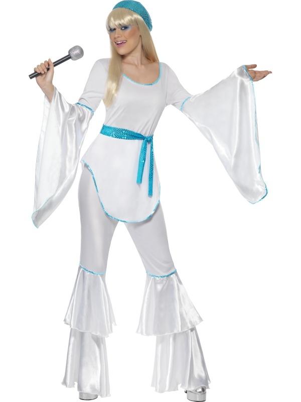 Super Trooper Abba Dames Kostuum Wit