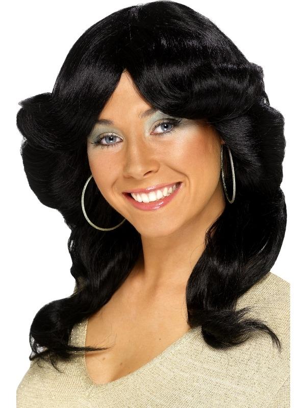 Zwarte 70's Flick Wig Pruik