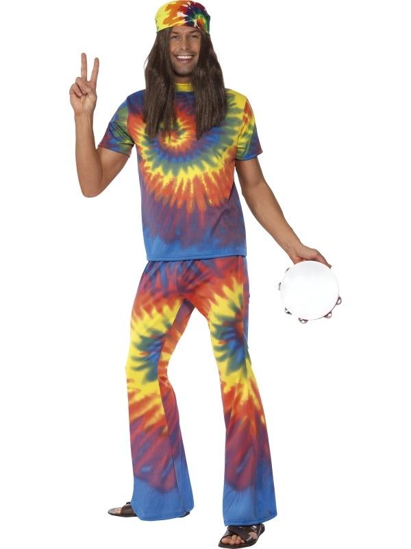 1960's Tie Dye Hippie Heren Verkleedkostuum