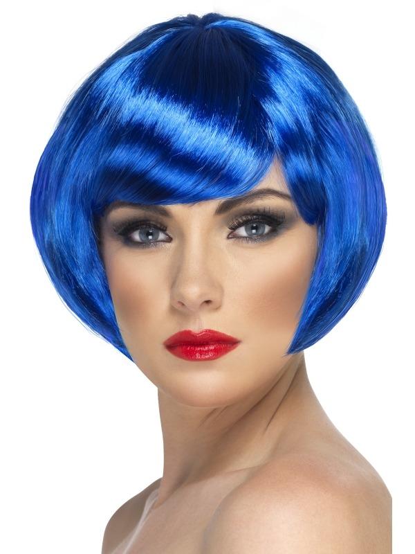 Blauwe Korte Bob Babe Pruik