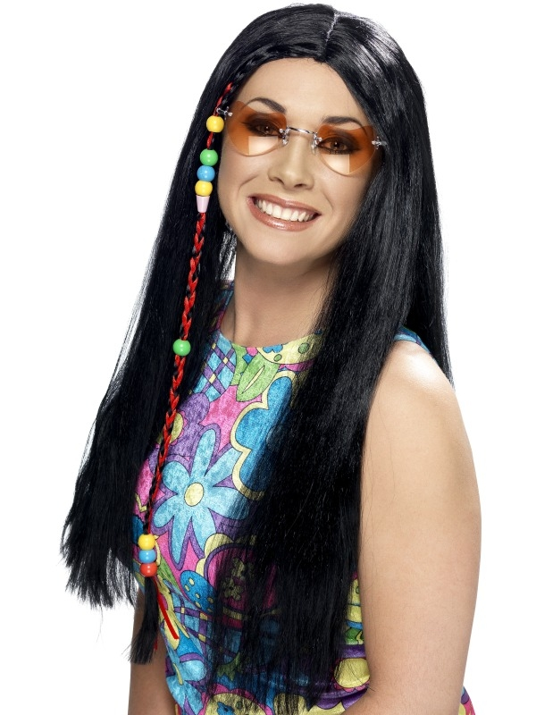 Zwarte Lange Hippie Pruik Met Kralen