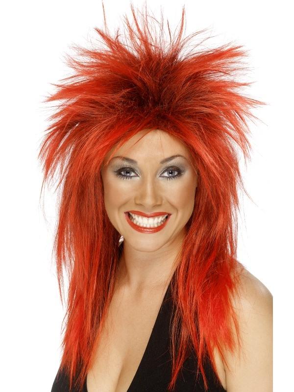 Rood Zwarte Rock Diva Pruik