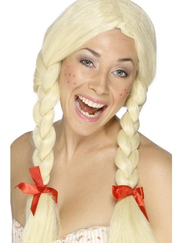 Blond Schoolmeisje Pruik met Vlechten