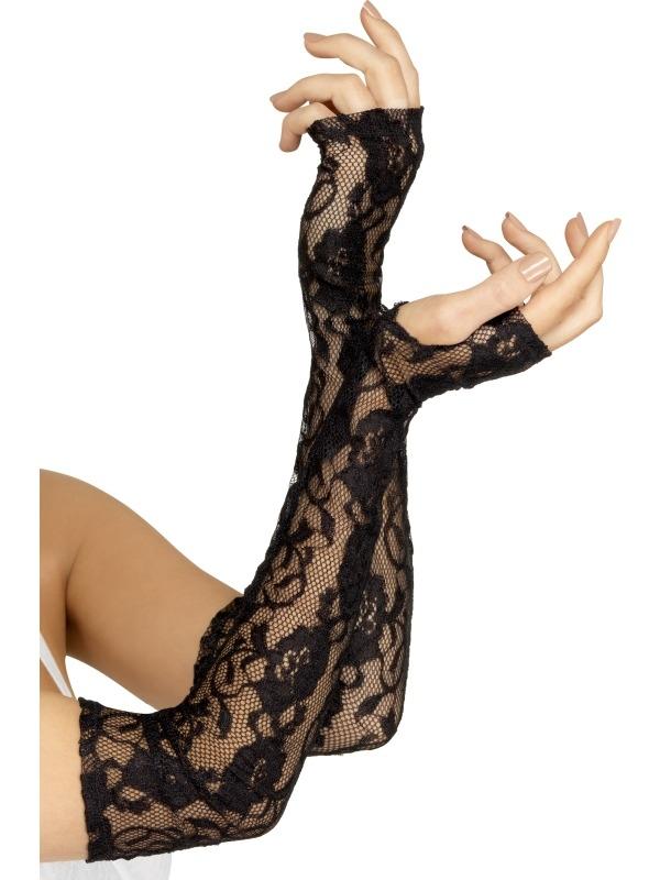 Zwarte Lange Kanten Handschoenen