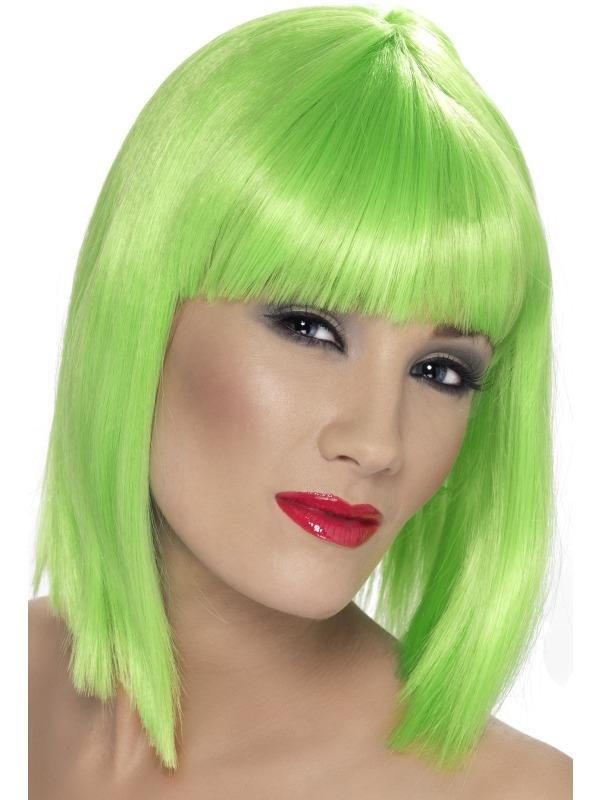 Neon Groene Schouderlange Glam Pruik
