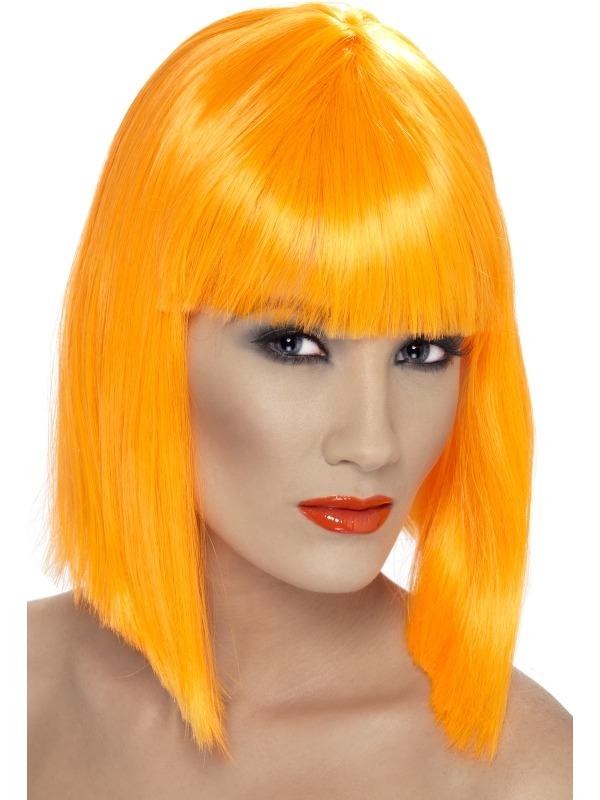 Neon Oranje Schouderlange Glam Pruik