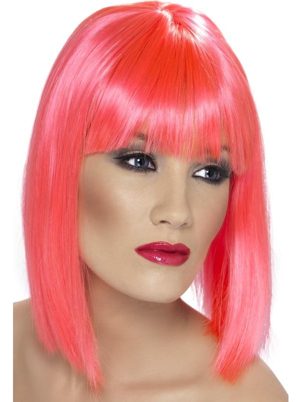 Neon Roze Schouderlange Glam Pruik