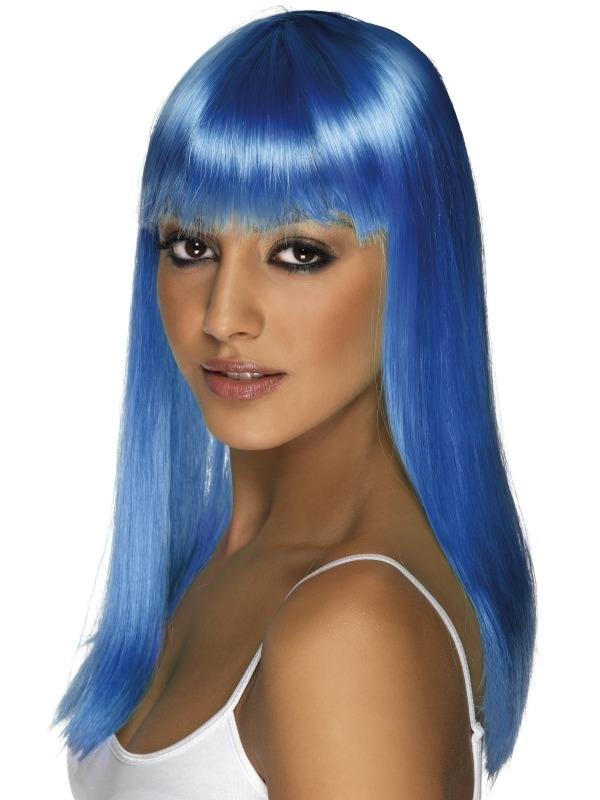Neon Blauwe Lange Glamourama Pruik