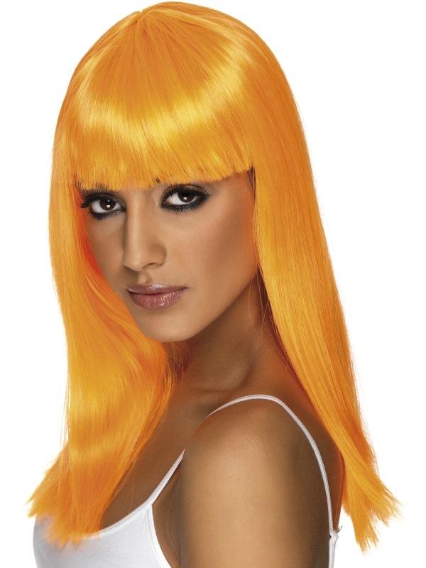 Neon Oranje Lange Glamourama Pruik
