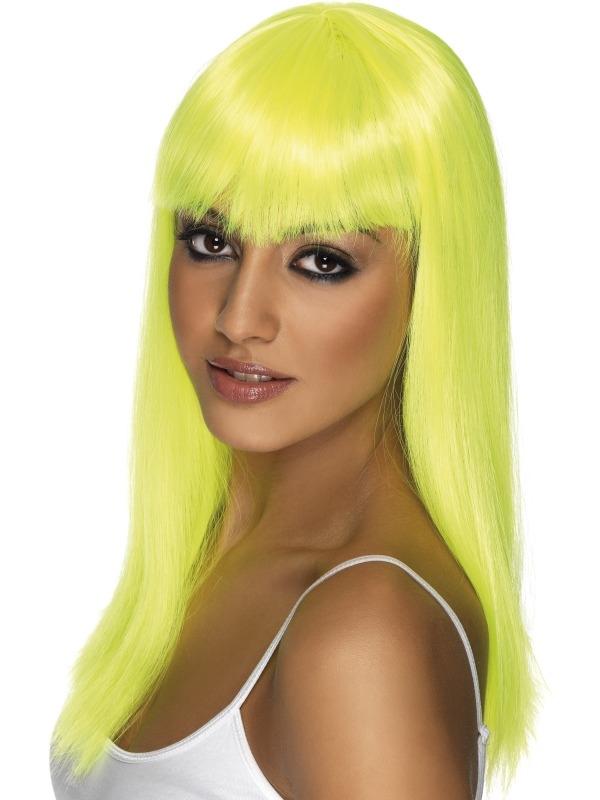 Neon Gele Lange Glamourama Pruik