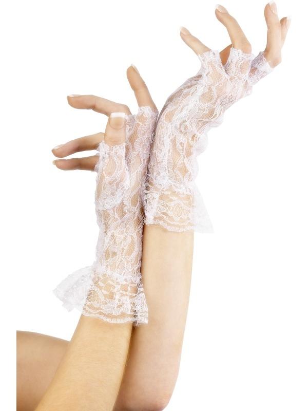 Witte Kanten Korte Handschoenen