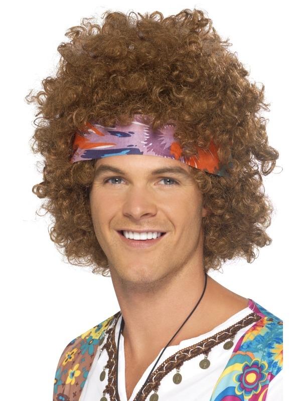 Hippie Afro Pruik Lichtbruin met Haarband