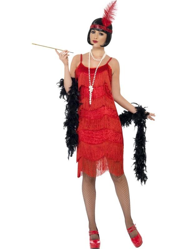 Rode Flapper Shimmy Verkleedkostuum